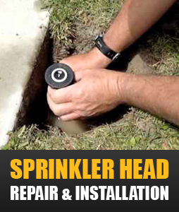 one of our techs is repairing a broken sprinkler head